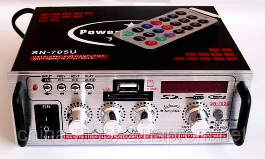 Усилитель (ресивер) UKC SN-705U MP3/SD/USB/AUX/FM 12v / 220v, фото 2