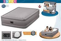 Велюровая надувная кровать Intex 64468 (152x203x51 см.) с встроенным насосом