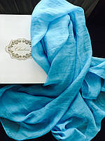 Шарф голубой шелковый