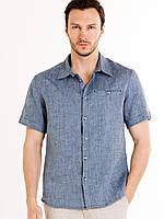 Рубашка мужская изо льна с коротким рукавом. S-10XXL батал, фото 1