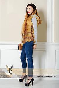 Короткий жилет лиса с кожаным корсетом