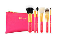 Набор кистей в косметичке Neon Pink - 6 Piece Brush Set with Cosmetic Bag BH Cosmetics Оригинал