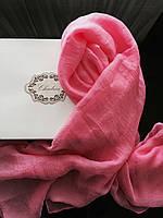 Шарф ярко розовый шелковый