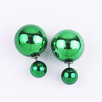 Серьги-гвоздики (пусеты) Dior Stile  (зеленые)