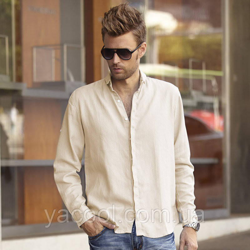 0907a98aa7e8327 Рубашка мужская из льна. Льняна сорочка чоловіча. Колір на вибір -  Интернет-магазин