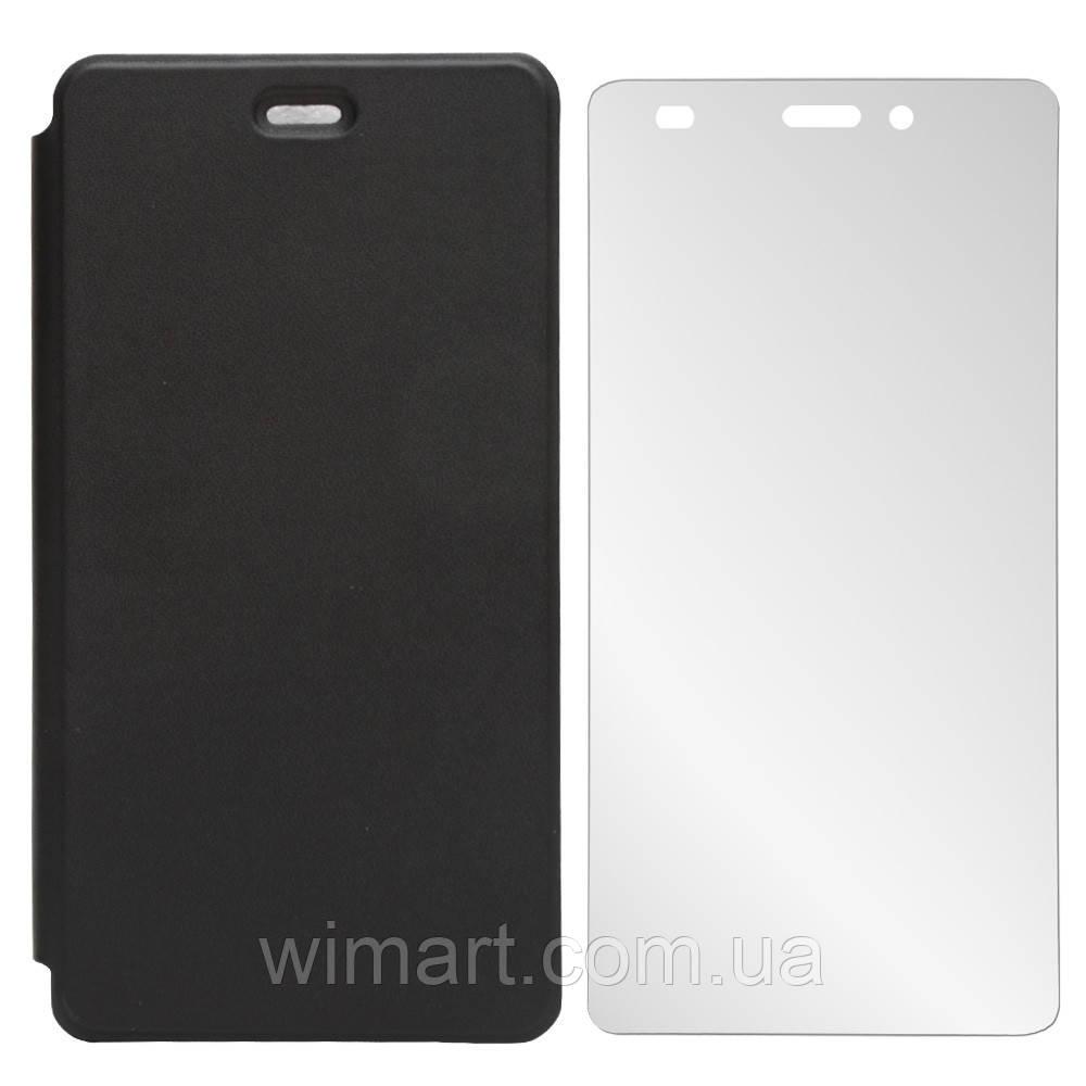 Чехол-книжка для Doogee X5/Doogee X5 pro + защитное стекло. Оригинал. Черный.