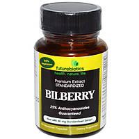 Черника экстракт 40 мг 60 капс витамины для глаз восстановление зрения FutureBiotics USA