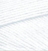 Пряжа Alize MISS белый №55 хлопковая для ручного вязания, летняя
