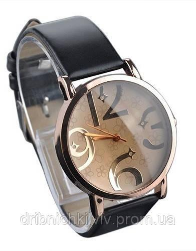 Стильные женские часы. Черный браслет (Код 032)