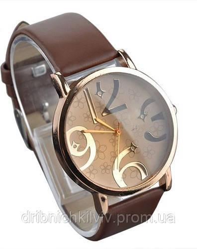 Стильные женские часы. Коричневый браслет (Код 032)