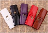 Ретро , винтажный пенал-чехол для кистей или ручек  красный