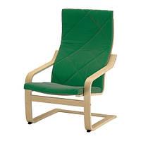 """IKEA """"ПОЭНГ"""" Кресло, березовый шпон, Сандбакка зеленый"""