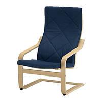 "IKEA ""ПОЭНГ"" Кресло, березовый шпон, Эдум темно-синий"