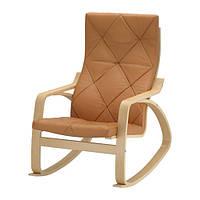 """IKEA """"ПОЭНГ"""" Кресло-качалка, березовый шпон, Сеглора естественный"""