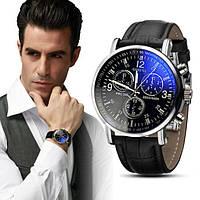 Стильные мужские часы Geneva. Черный ремешок (Код 071), фото 1