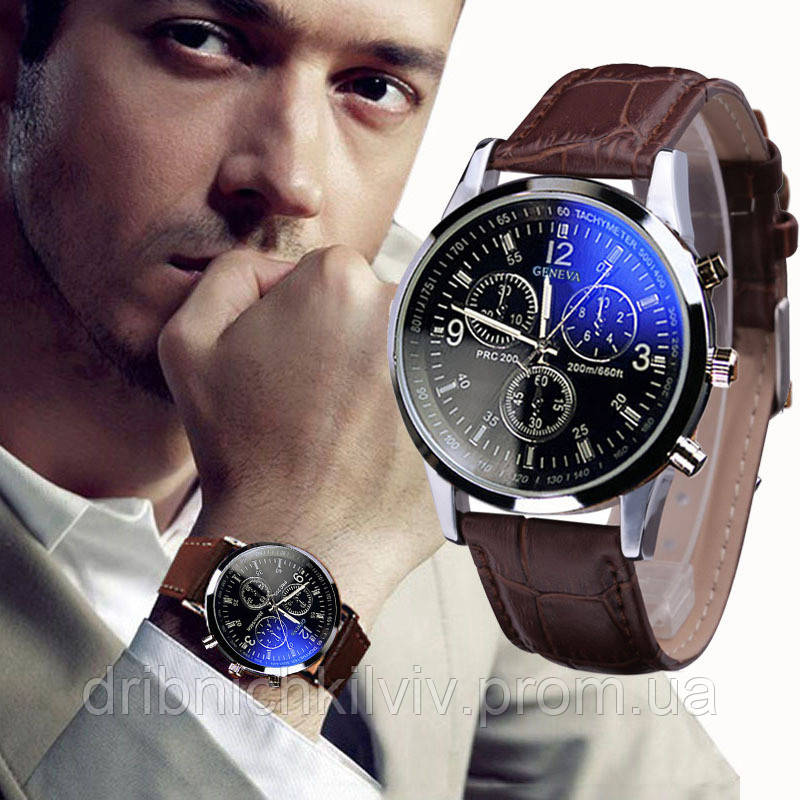 Стильные мужские часы Geneva. Коричневый ремешок (Код 071), фото 1