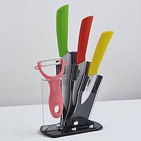 Набор керамических ножей на подставке Ceramic knife ( 3 ножа + чистилка ) ножи с цветными рукоятками