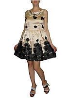 Полная распродажа. Платье Leaksa ванильно - черного цвета с аппликацией и колье OB90070