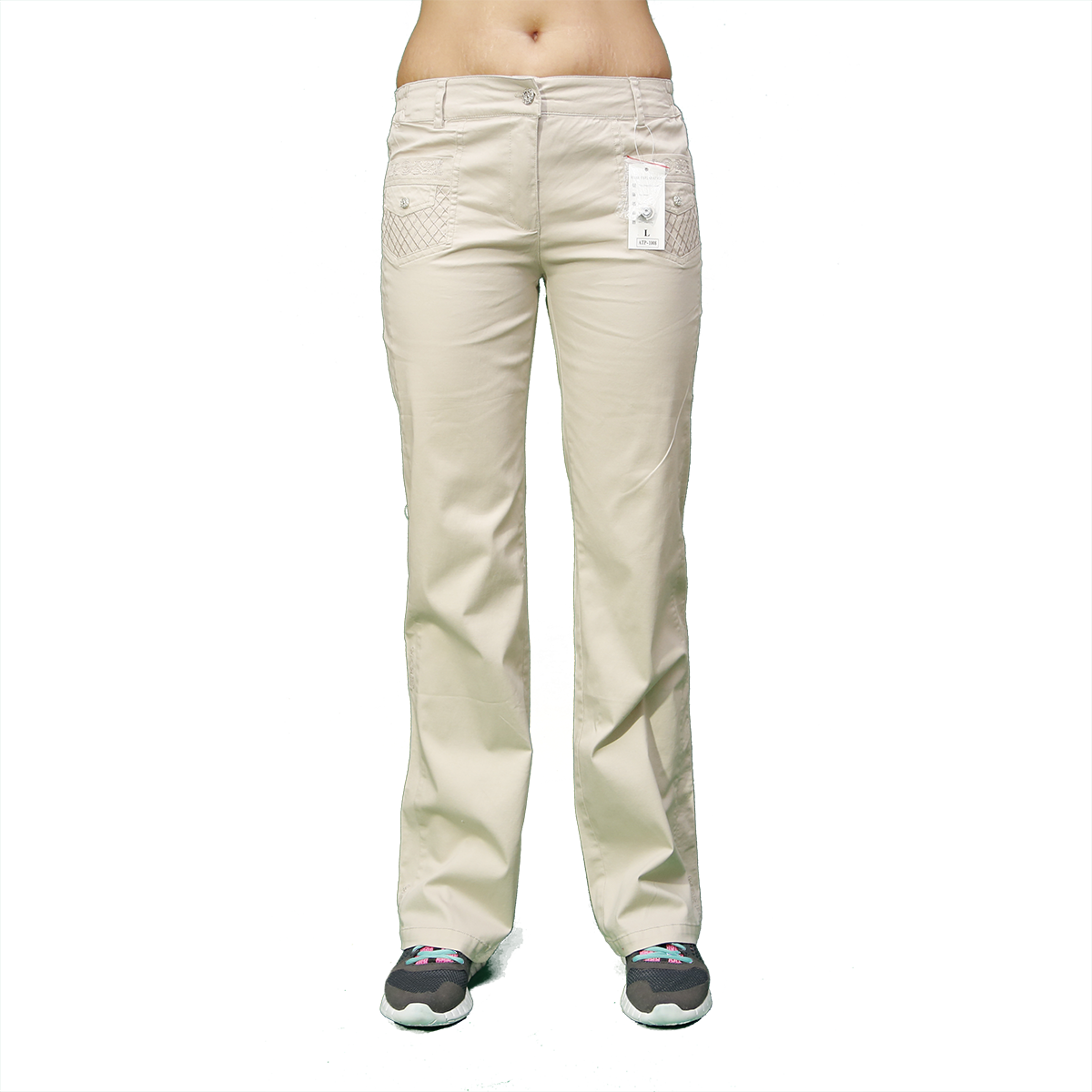 Женские качественные  стрейчевые брюки молочные  ATP1008-1