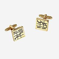Запонки Bow Tie House с графиками золотые 07590