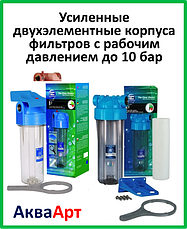 Усиленные двухэлементные корпуса фильтров с рабочим давлением до 10 бар