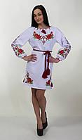 Модное вышитое платье с длинным рукавом