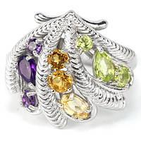 Серебряное Кольцо с Натуральным Перидотом Цитрином Аметистом