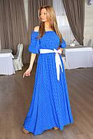 Длинное нежное платье фонарик в горошек с поясом