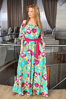 Красивое платье в пол цветочный принт