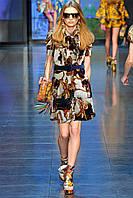 Последний размер. Скидка 70%. Платье Burberry в сине кремовых тонах под поясок OB90017