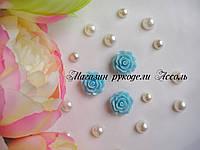 Кабошоны акриловые роза голубые 2см