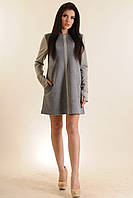 Платье А-силуэта в полуспортивном стиле удлиненный рукав с вырезом для пальца, двусторонняя замша 42-52 размер