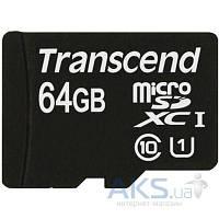 Карта памяти Transcend microSDXC 64GB Premium Class 10 UHS-1 + SD Adapter (TS64GUSDU1)