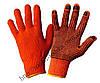 перчатки для работы  в саду оранжевые с ПВХ