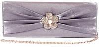 Сумка - клатч со стразами и жемчугом цвет серый