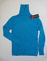 Женский демисезонный гольф ярко-голубого цвета