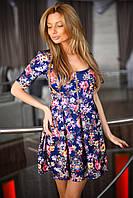 Короткое нарядное платье на молнии цветочный принт