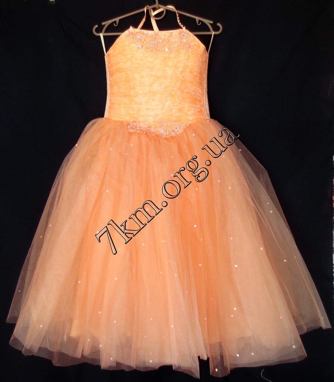 Платье нарядное бальное детское 6 лет Корсет персик Украина оптом.
