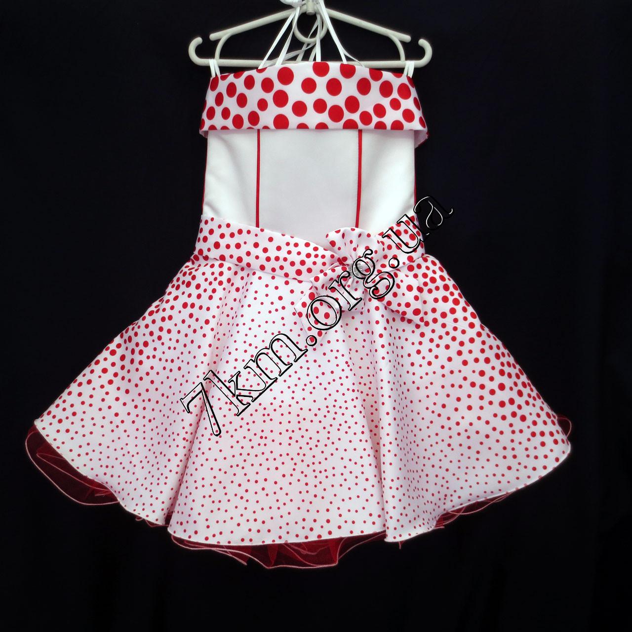 Платье нарядное бальное детское 6 лет Стиляга красный горох Украина оптом.