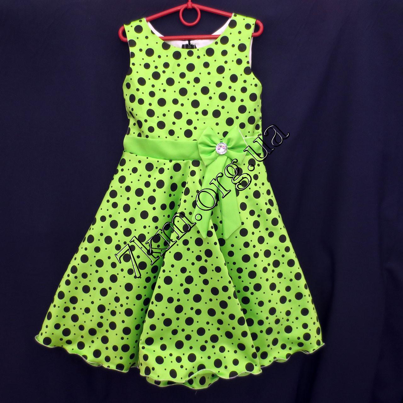 Платье нарядное бальное детское 6 лет Бантикс горохом салатовое Украина оптом.