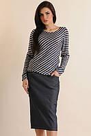 Зауженная юбка длиной ниже колена - миди, по бокам два кармашка, стрейч-джинс, 42-52 размеры