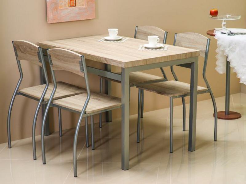 Стол обеденный деревянный Astro дуб сонома + 4 стула Signal алюминий
