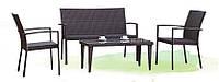 Плетеная мебель из искусственного ротанга Vera (Китай): софа, 2 стула, столешница из стекла