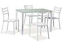 Стол обеденный стеклянный Kendo белый + 4 стула Signal