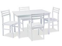 Стол обеденный деревянный Tromso белый + 4 стула Signal белый