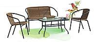 Удобный комплект мебели из искусственного ротанга «Maria»: софа, кресло (2 шт.), столик