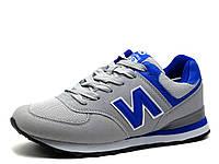 Кроссовки унисекс, серые, синие вставки, фото 1