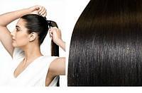 Хвост из натуральных Волос 45 см Черный  ПАРИКИ НАРАЩИВАНИЕ ВОЛОС , фото 1