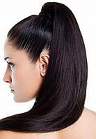 Хвост из натуральных славянских волос 50 см Черный, фото 1