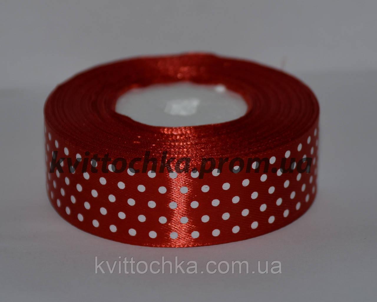 Атласная лента в горошек 2,5 см (23 м), цвет - красный